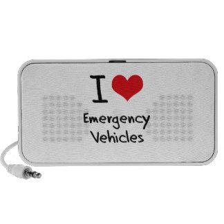 Amo los vehículos de la emergencia notebook altavoz
