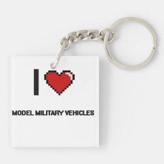 Amo los vehículos militares modelo Digitaces Desig Llavero Cuadrado Acrílico A Doble Cara