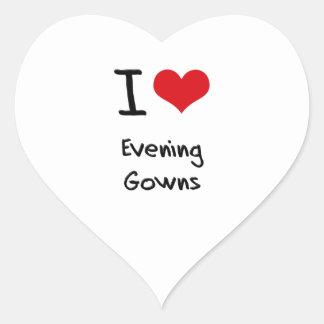Amo los vestidos de noche pegatinas de corazon personalizadas