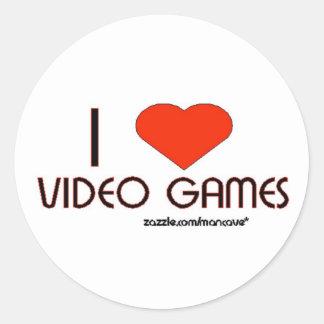 Amo los videojuegos pegatina redonda
