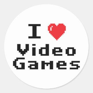 Amo los videojuegos pegatinas redondas