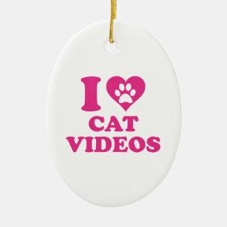 Amo los vídeos del gato adorno navideño ovalado de cerámica