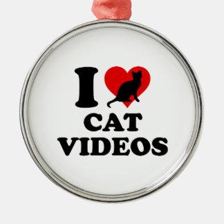 Amo los vídeos del gato adorno navideño redondo de metal