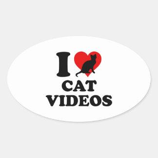 Amo los vídeos del gato calcomanías de ovales personalizadas