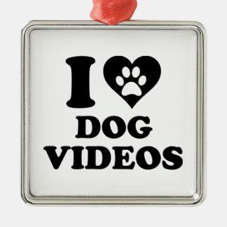 Amo los vídeos del perro adorno navideño cuadrado de metal