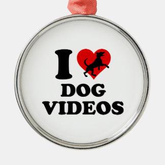 Amo los vídeos del perro adorno navideño redondo de metal