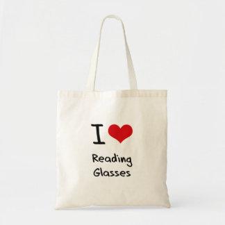 Amo los vidrios de lectura bolsas lienzo