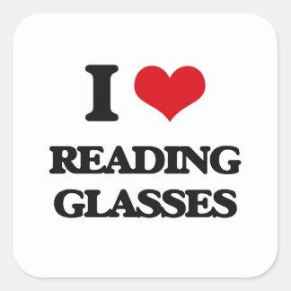 Amo los vidrios de lectura calcomanías cuadradas personalizadas