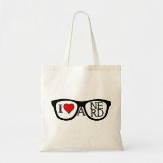 Amo los vidrios Geeky de un empollón Bolsa De Mano