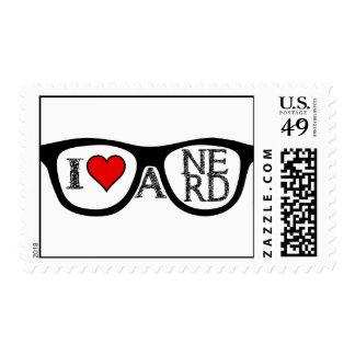 Amo los vidrios Geeky de un empollón Estampillas