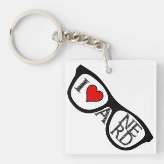 Amo los vidrios Geeky de un empollón Llavero Cuadrado Acrílico A Una Cara
