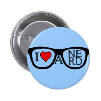 Amo los vidrios Geeky de un empollón Pins