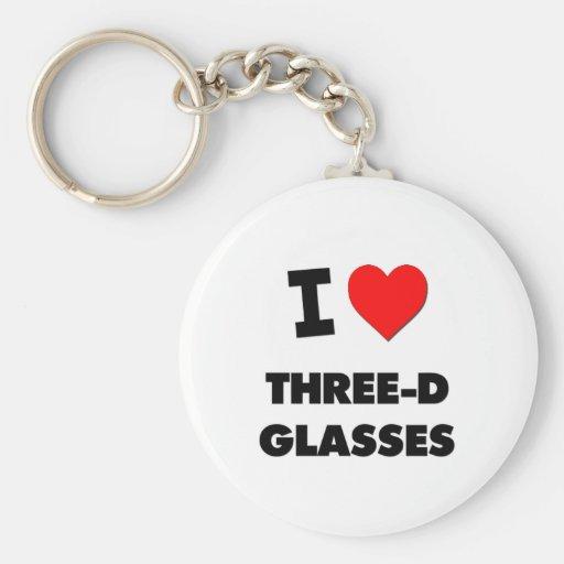 Amo los vidrios tridimensionales llaveros personalizados