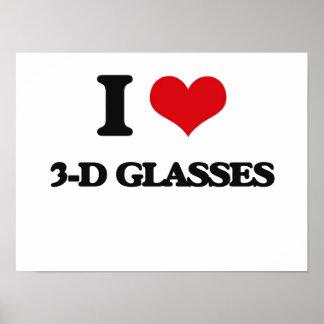 Amo los vidrios tridimensionales póster