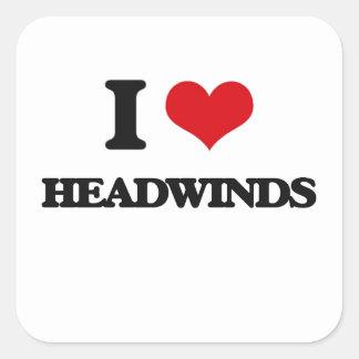 Amo los vientos de proa pegatina cuadrada