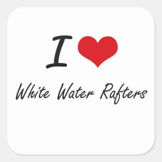 Amo los vigas del agua blanca pegatina cuadrada