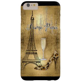 Amo los zapatos de la moda de la torre Eiffel de Funda Para iPhone 6 Plus Barely There