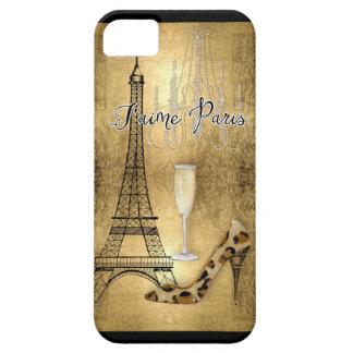 Amo los zapatos de la moda de la torre Eiffel de iPhone 5 Fundas