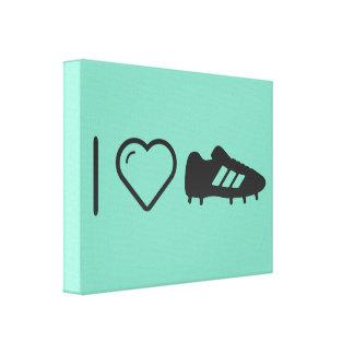 Amo los zapatos del fútbol impresión en lona estirada