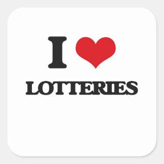 Amo loterías calcomanias cuadradas