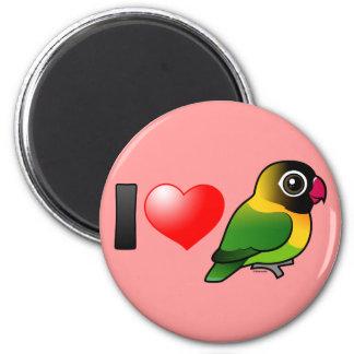 Amo Lovebirds enmascarados Imán Redondo 5 Cm
