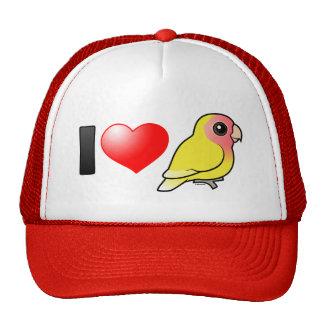 Amo Lovebirds Melocotón-hechos frente Lutino Gorros Bordados