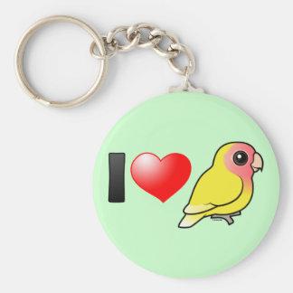 Amo Lovebirds Melocotón-hechos frente Lutino Llavero Redondo Tipo Pin