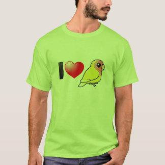Amo Lovebirds Melocotón-hechos frente Lutino Playera