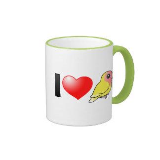 Amo Lovebirds Melocotón-hechos frente Lutino Taza