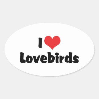 Amo Lovebirds Pegatina Ovalada