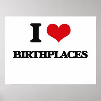 Amo lugares de nacimiento impresiones
