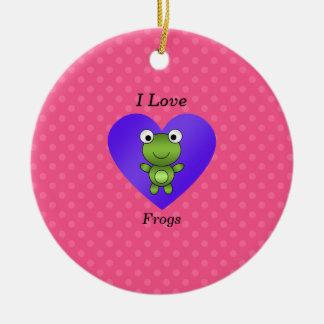 Amo lunares rosados de las ranas ornamentos de reyes