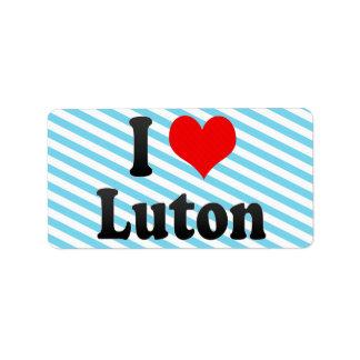 Amo Luton, Reino Unido Etiquetas De Dirección