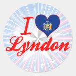 Amo Lyndon, Nueva York Pegatinas Redondas