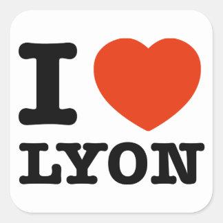 Amo Lyon Pegatina Cuadrada