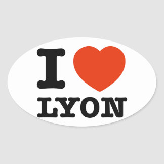 Amo Lyon Pegatina Ovalada