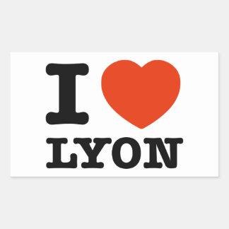 Amo Lyon Pegatina Rectangular