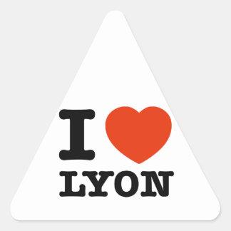 Amo Lyon Pegatina Triangular