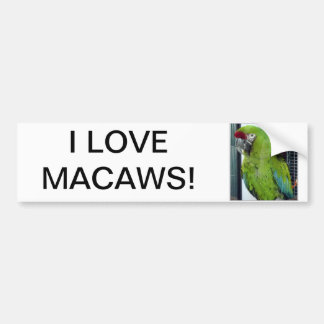 ¡Amo macaws! Etiqueta De Parachoque