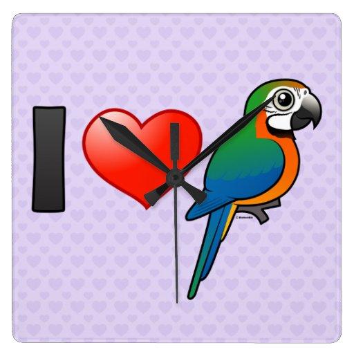 Amo Macaws del Harlequin Reloj Cuadrado