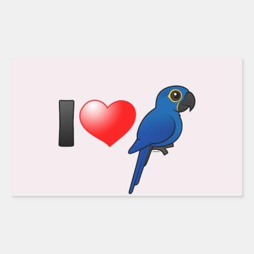 Amo Macaws del jacinto Rectangular Pegatina