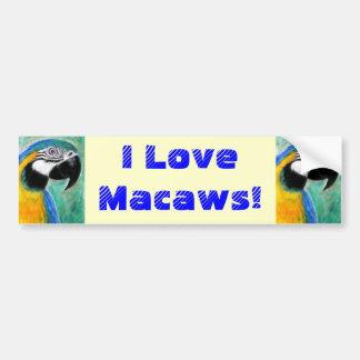 ¡Amo Macaws! Pegatina Para Auto