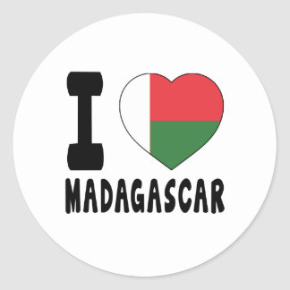 Amo Madagascar Pegatina Redonda