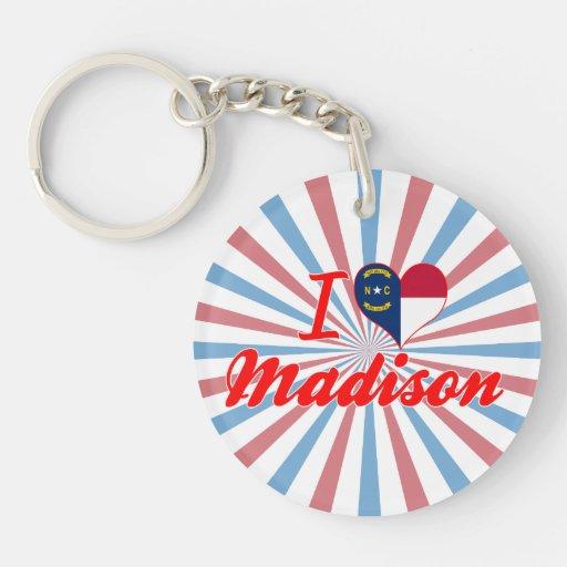 Amo Madison, Carolina del Norte Llavero Redondo Acrílico A Una Cara