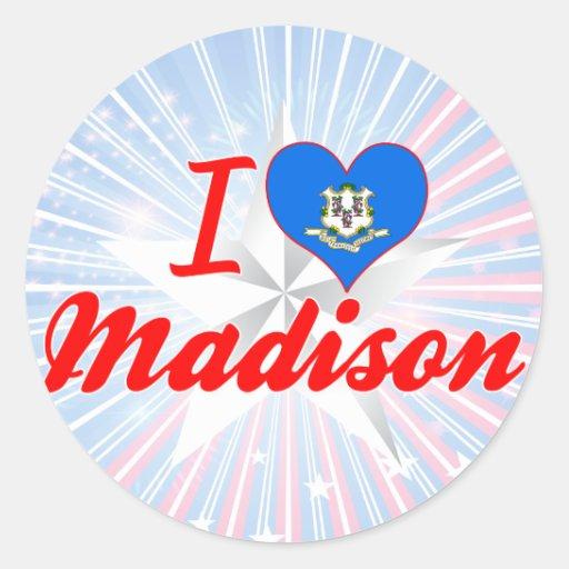 Amo Madison, Connecticut Etiquetas Redondas