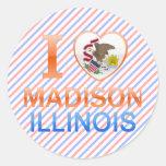 Amo Madison, IL Pegatina Redonda