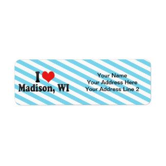 Amo Madison, WI Etiqueta De Remite