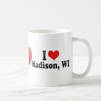 Amo Madison, WI Taza Básica Blanca