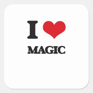 Amo magia calcomanías cuadradass personalizadas