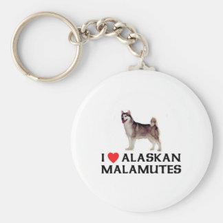 Amo Malamutes de Alaska Llavero Redondo Tipo Pin